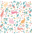 Rabbits in hearts and flowers vector image vector image