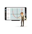 schoolboy working with an interactive whiteboard vector image vector image
