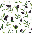 seamless pattern with black olive branches vector image vector image