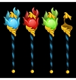 set four magic staves on a black background vector image vector image