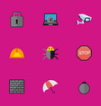 set of 9 editable safety flat icons includes vector image