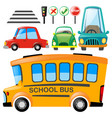 set of different transportations and road signs vector image