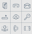 Set of Modern Thin Line Icons Blog Printer vector image