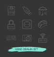 set of tech icons line style symbols with polaroid vector image