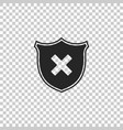 shield and cross x mark icon isolated vector image vector image