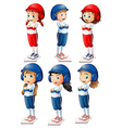 Six baseball players vector image vector image
