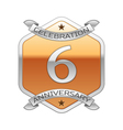 Six years anniversary celebration silver logo with