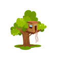treehouse wooden house on tree for kids outdoor vector image vector image