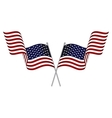 Two crossed waving USA flags vector image