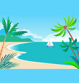 view on sunny coast with palms and cute vessel vector image