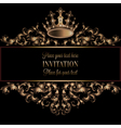 Vintage gold invitation card with black background vector image vector image