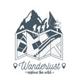 wanderlust label with forest scene and paper map vector image vector image