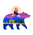with pink hair girl riding on bear silhouette vector image vector image