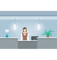Woman receptionist in uniform stands at reception vector image vector image