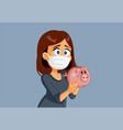 woman wearing medical mask holding piggy bank vector image vector image