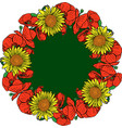 wreath of red blossoming poppies and yellow vector image vector image
