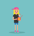 young female character holding a jack in the box vector image vector image