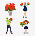 young people with flowers vector image vector image