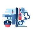 Police things gun and handcuffs vector image