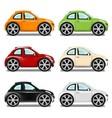 Mini car with big wheels six colors vector image