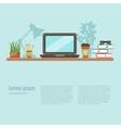 colorful office desk closeup concept vector image