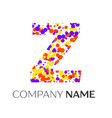 letter z logo with purple yellow red particles vector image