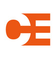 abstract initial letter ce or oe logo concept vector image vector image