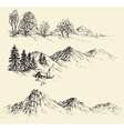Artistic sketch of mountain ranges vector image vector image