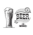 beer glass filled with beer vintage vector image vector image