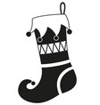 black and white christmas stocking silhouette vector image