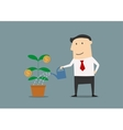 Businessman watering a money plant vector image