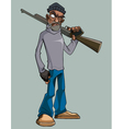 cartoon man with a gun angrily staring vector image vector image