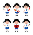 collection little girls in school uniform vector image vector image