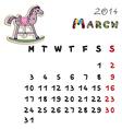 color horse calendar 2014 march vector image vector image