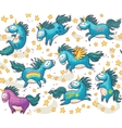 cute seamless pattern with unicorns in sky vector image