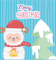 cute sheep with star and tree merry christmas vector image vector image