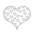 dotted shape hearts design inside big heart vector image vector image