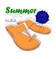 drawing sandal from india with vector image vector image
