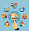e commerce round composition vector image vector image