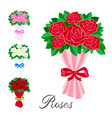elements set a bouquet of red pink white and vector image vector image