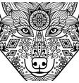 entangle black contour wolf head vector image