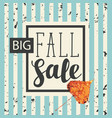 fall sale design with yellowed poplar leaf vector image vector image
