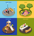 family playing concept icons set vector image vector image