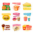 fast food icons sandwich drink and snack vector image vector image