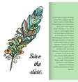 Feather painted in the style ornament vector image vector image