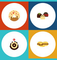 flat cake set of doughnut biscuit pastry and vector image vector image