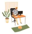 freelancer working on computer student preparing vector image vector image