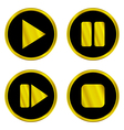 Gold play pause stop forward buttons vector image vector image