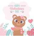 happy valentines day cute female bear with flower vector image
