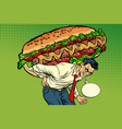 man carries a huge hot dog sausage with salad vector image